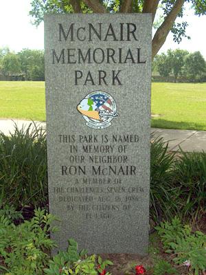 McNair Memorial Park dedication marker